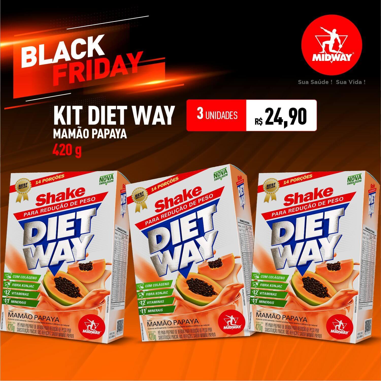 Kit 3 Diet Way Mamão Papaya • 420g • Black Friday