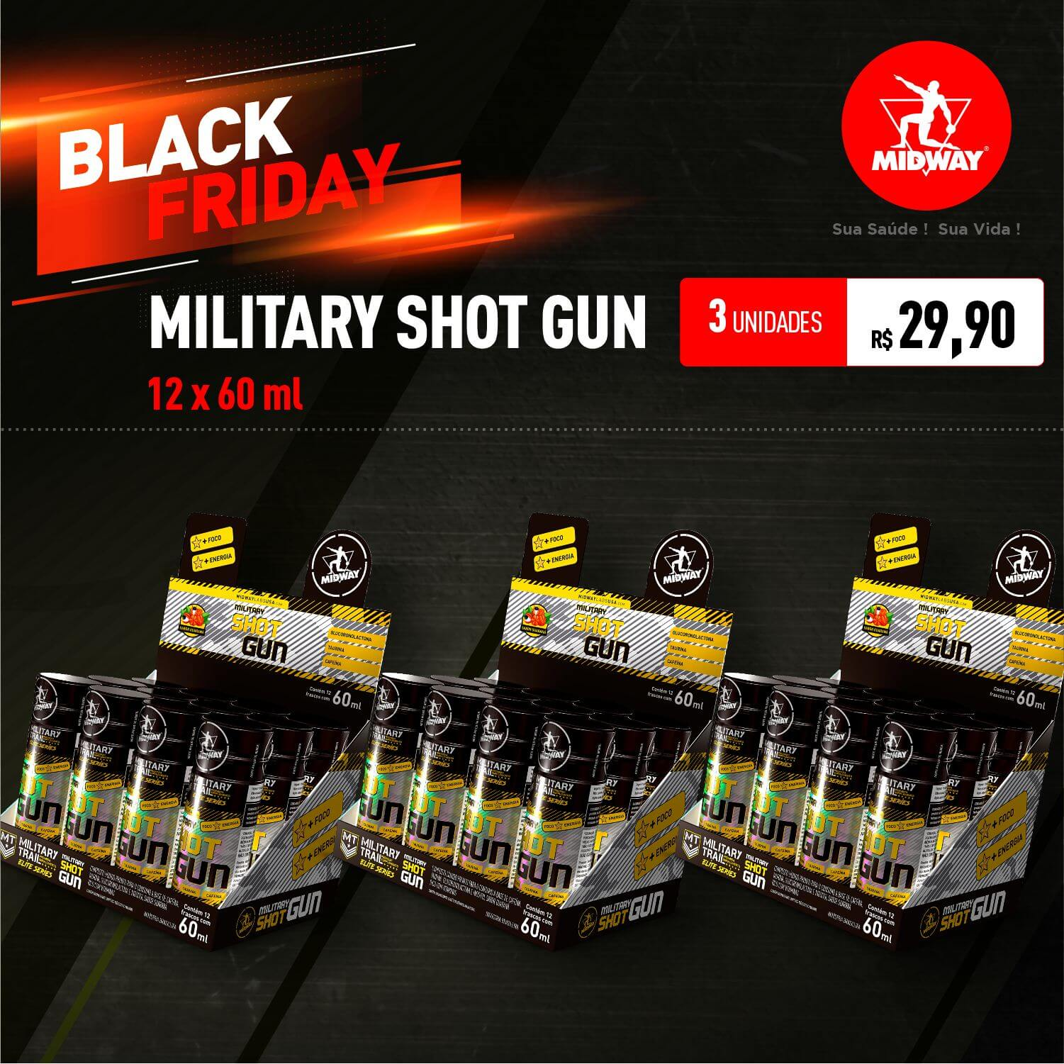 Kit 3 Military Shot Gun • 12 x 60 ml • Black Friday