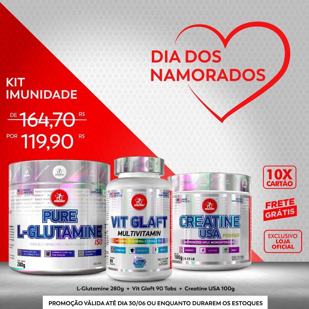 KIT IMUNIDADE • Creatina USA 100g + L-Glutamina Powder 280g + Vit Glaft Multivitamin 90 tabs