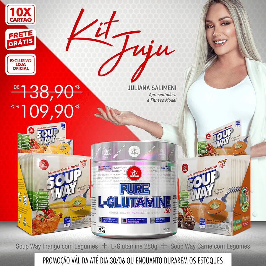 KIT JUJU • L-Glutamina Powder 280g + Soup Way Carne com Legumes (Display 10 un de 15g) + Soup Way Frango com Legumes (Display 10 un de 15g)