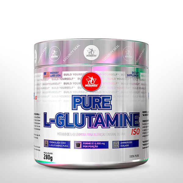 KIT MIDWAY • L-Glutamine 280g + Vit Glaft 90 Tabs + L-Carnitina Fire 240 mL Tangerina
