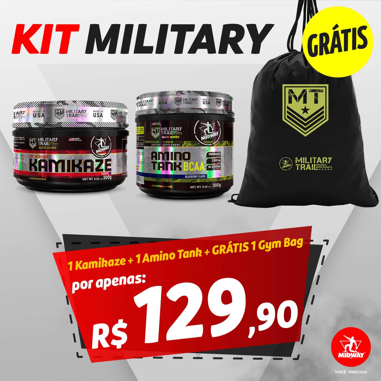 KIT MILITARY: 1 Pre Workout Kamikaze + Amino Tank BCAA + GRÁTIS 1 Gym Bag