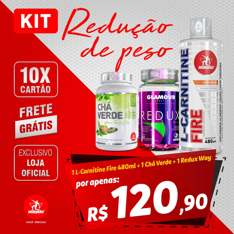 KIT REDUÇÃO DE PESO: 1 Chá Verde 60 Caps + 1 L-Carnitine Fire 480mL Tangerina + 1 Redux Way 60 Caps