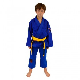 Kimono Jiu Jitsu Keiko Juvenil Trançadinho Azul Infantil