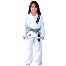 Kimono Jiu Jitsu Koral Kids Trançado Branco Infantil