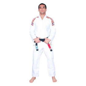Kimono Jiu Jitsu Kvra Sensei Branco Silk Preto Adulto Unissex
