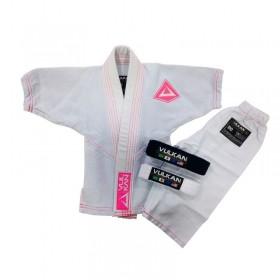 Kimono Jiu Jitsu Vulkan Baby Class Recem Nascido Branco Rosa