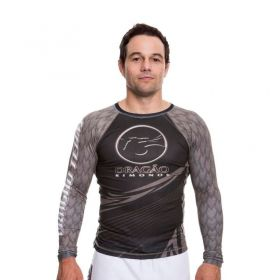 Rash Guard  Lycra Dragão Team Preto Manga Longa