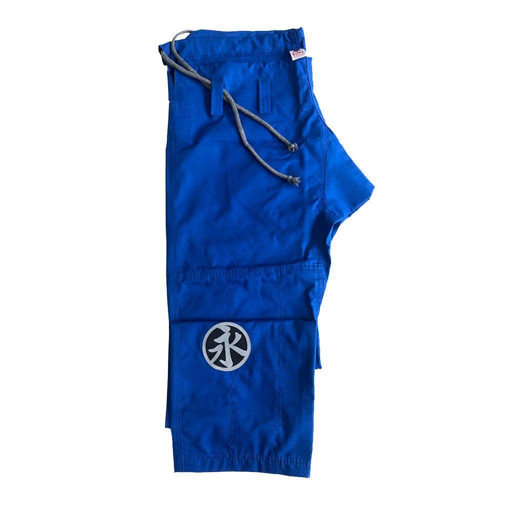 Calça Jiu Jitsu Keiko Brim Azul Logo Cinza Adulto Unissex