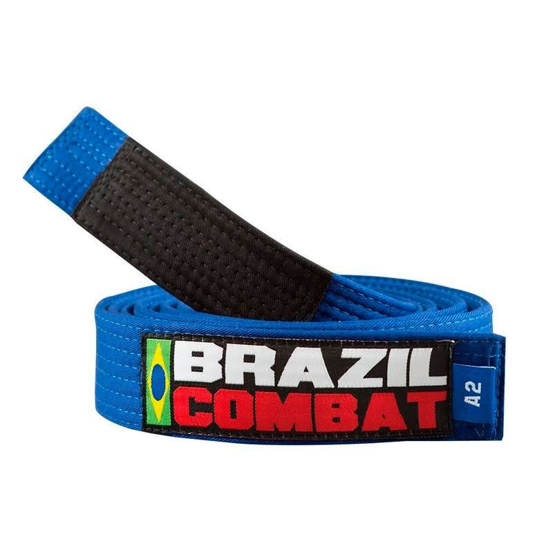 Faixa Jiu Jitsu Brazil Combat Tradicional Azul Celeste Ponta Preta