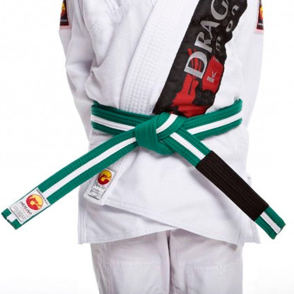 Faixa Jiu Jitsu Dragão Original Verde Fita Branca Ponta Preta