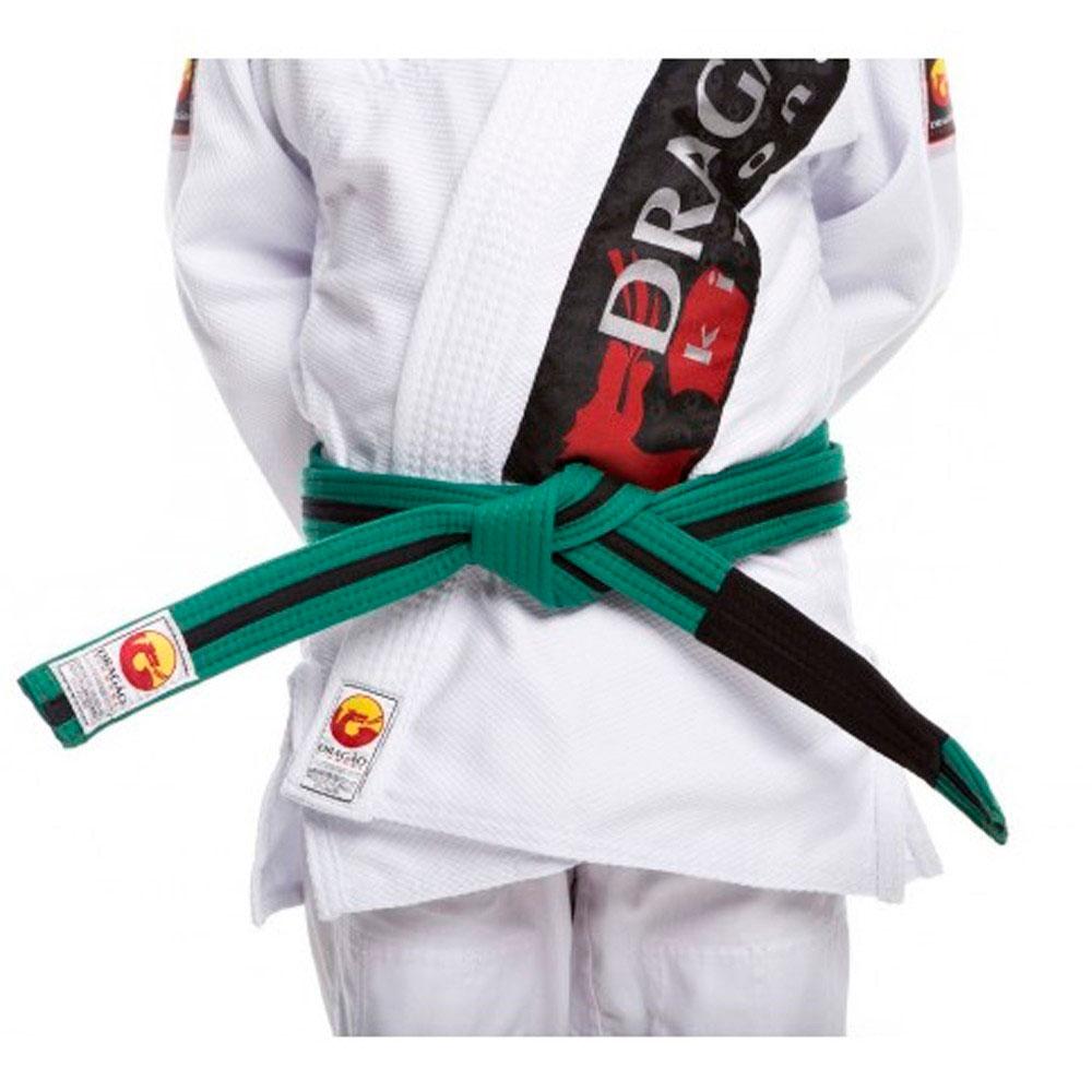 Faixa Jiu Jitsu Dragão Original Verde Fita Preta Ponta Preta