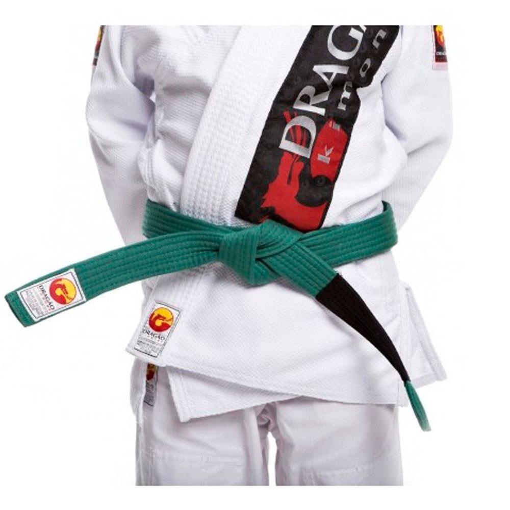 Faixa Jiu Jitsu Dragão Original Verde Ponta Preta