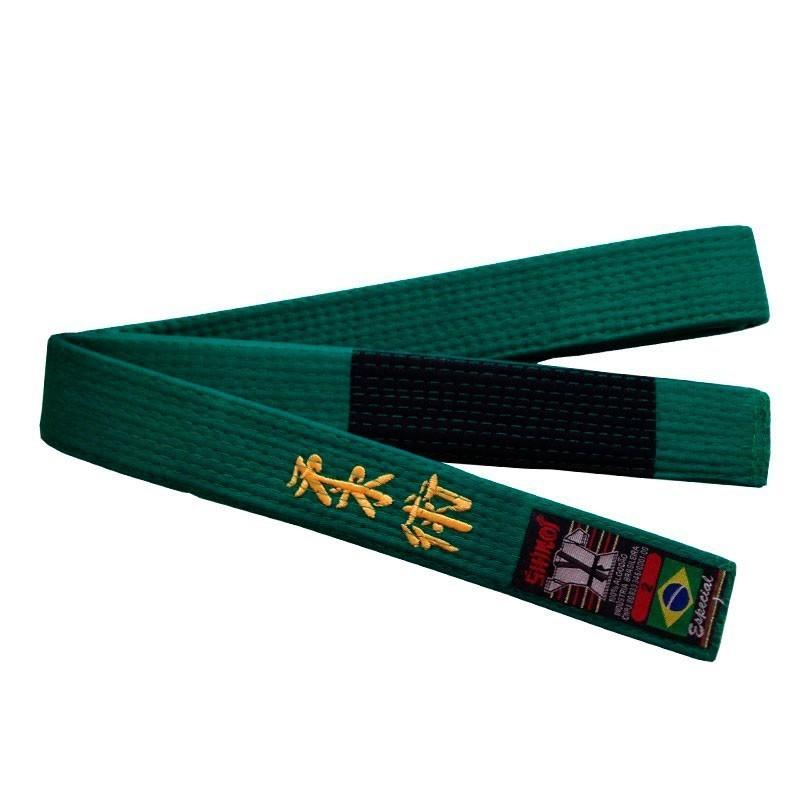 Faixa Jiu Jitsu Shiroi Verde Bordada Ponta Preta