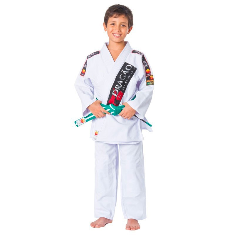 Kimono Jiu Jitsu Dragão Brasil Branco Infantil