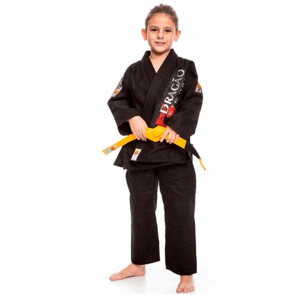 Kimono Jiu Jitsu Dragão Brasil Preto Infantil