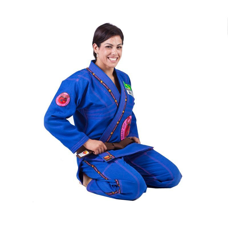Kimono Jiu Jitsu Dragão Combat Azul Feminino