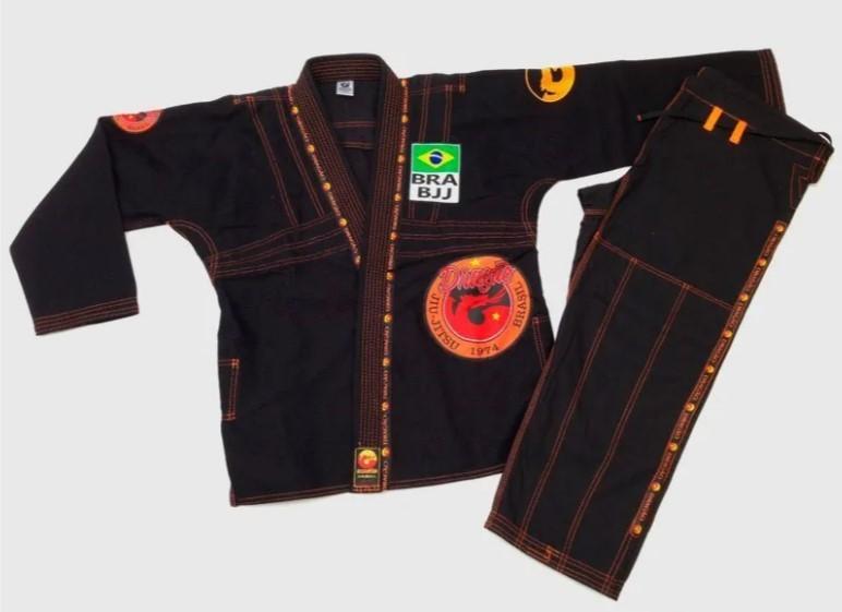 Kimono Jiu Jitsu Dragão Combat Preto Adulto Unissex