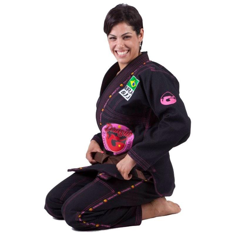 Kimono Jiu Jitsu Dragão Combat Preto Feminino