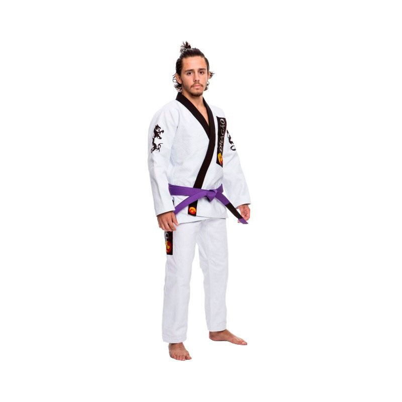 Kimono Jiu Jitsu Dragão Iron Branco Gola Preta Adulto Unissex