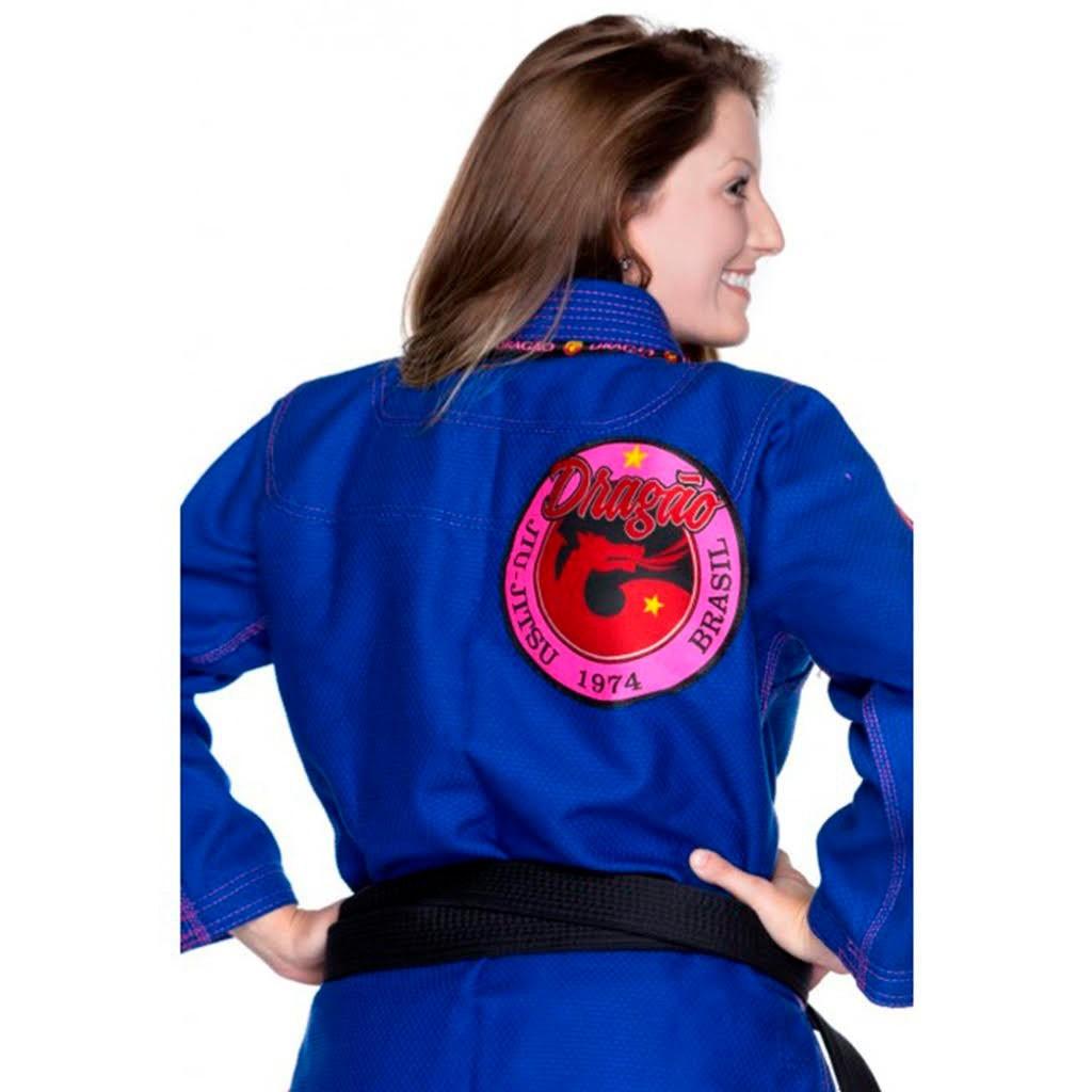 Kimono Jiu Jitsu Dragão Novo Combat Azul Feminino