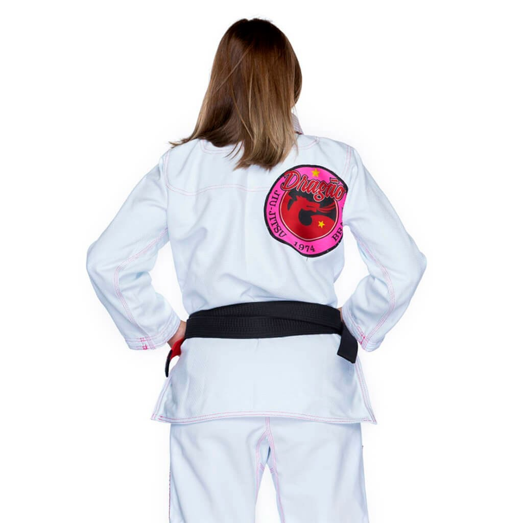Kimono Jiu Jitsu Dragão Novo Combat Branco Feminino