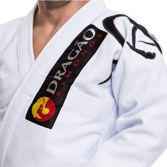 Kimono Jiu Jitsu Dragão Tribal Branco Adulto Unissex