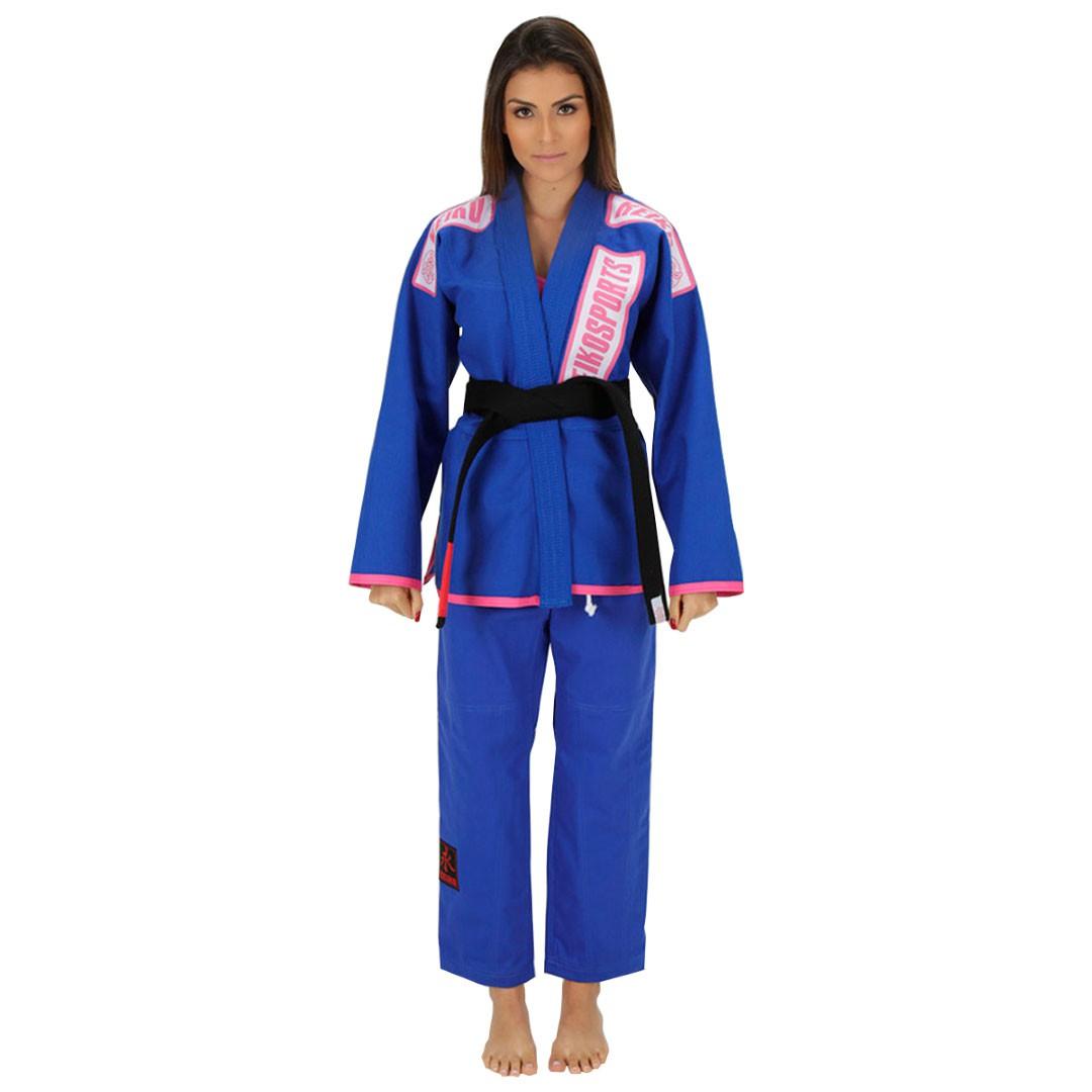 Kimono Jiu Jitsu Keiko Limitada Azul Feminino
