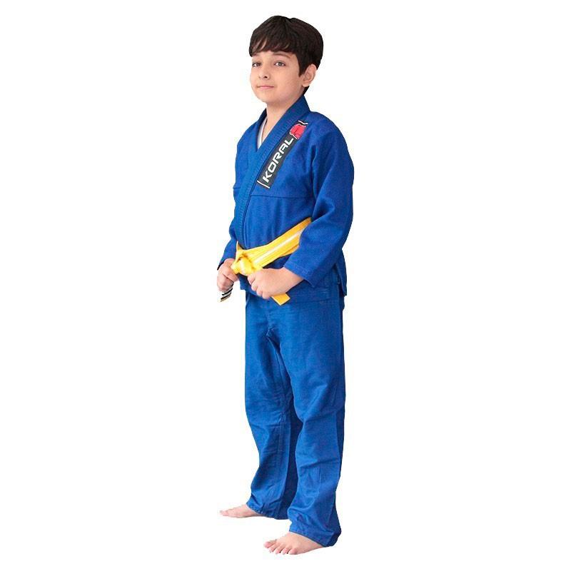 Kimono Jiu Jitsu Koral Kids Trançado Azul Infantil