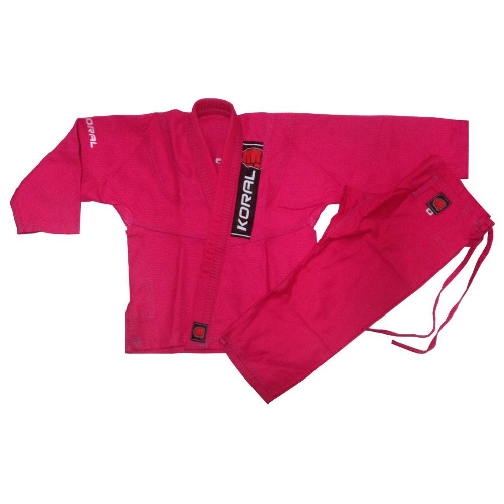 Kimono Jiu Jitsu Koral kids Trançado Pink Infantil