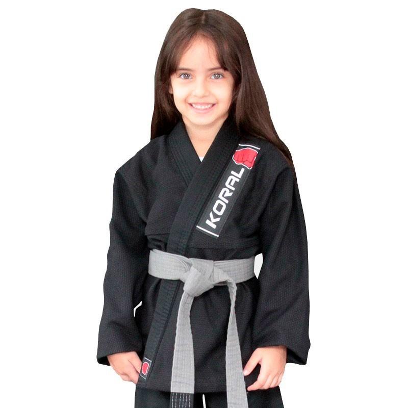 Kimono Jiu Jitsu Koral Kids Trançado Preto Infantil