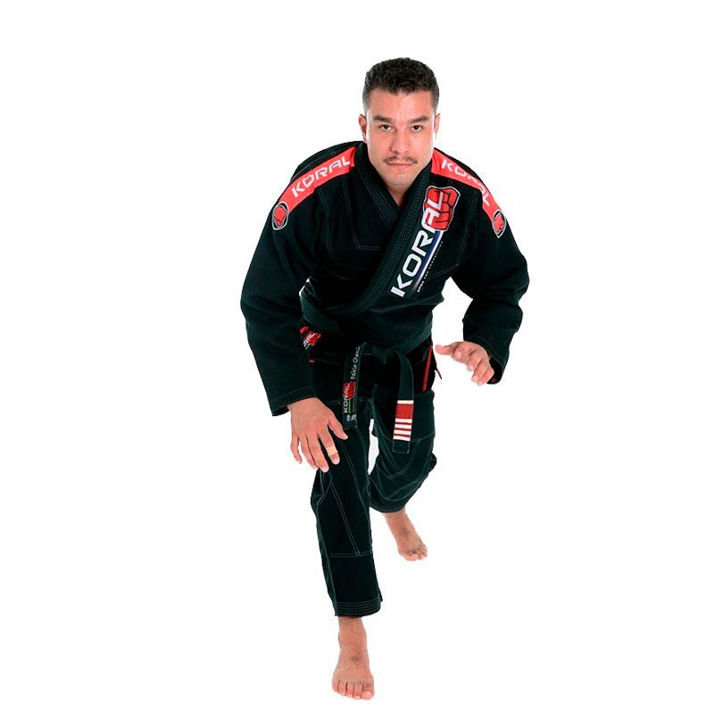 Kimono Jiu Jitsu koral MKM Competition 18 Preto Adulto Unissex