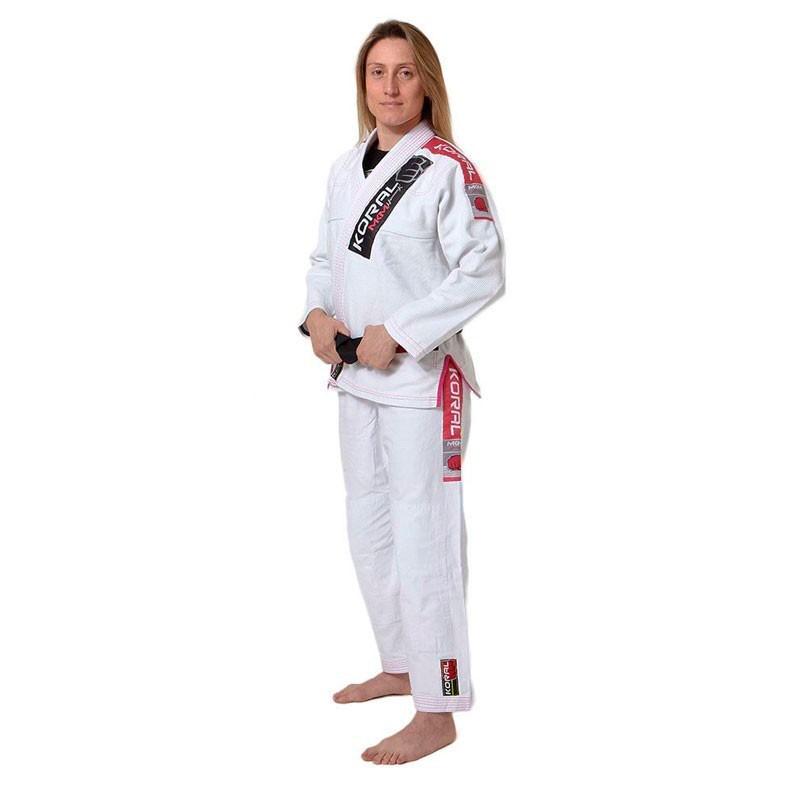 Kimono Jiu Jitsu Koral MKM Harmonik Branco Rosa Feminino