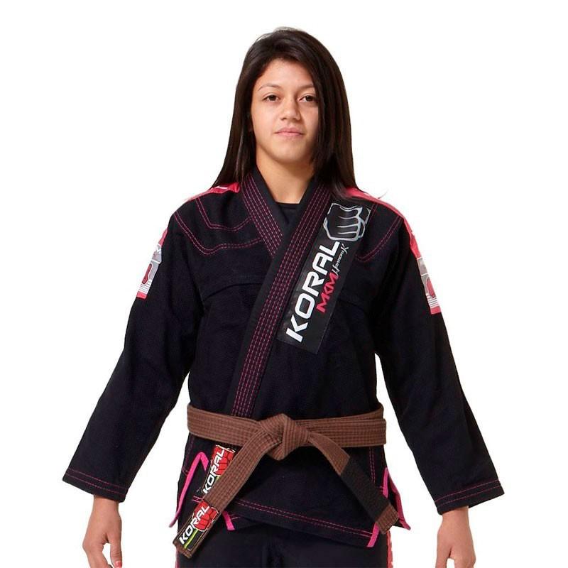 Kimono Jiu Jitsu Koral MKM Harmonik Preto Feminino