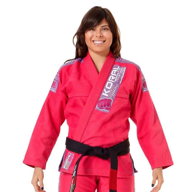 Kimono Jiu Jitsu Koral MKM Harmonik Rosa Feminino