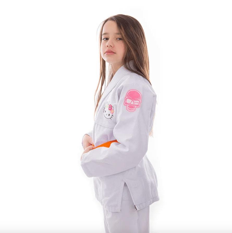 Kimono Jiu Jitsu KVRA Hello Kitty Branco Infantil