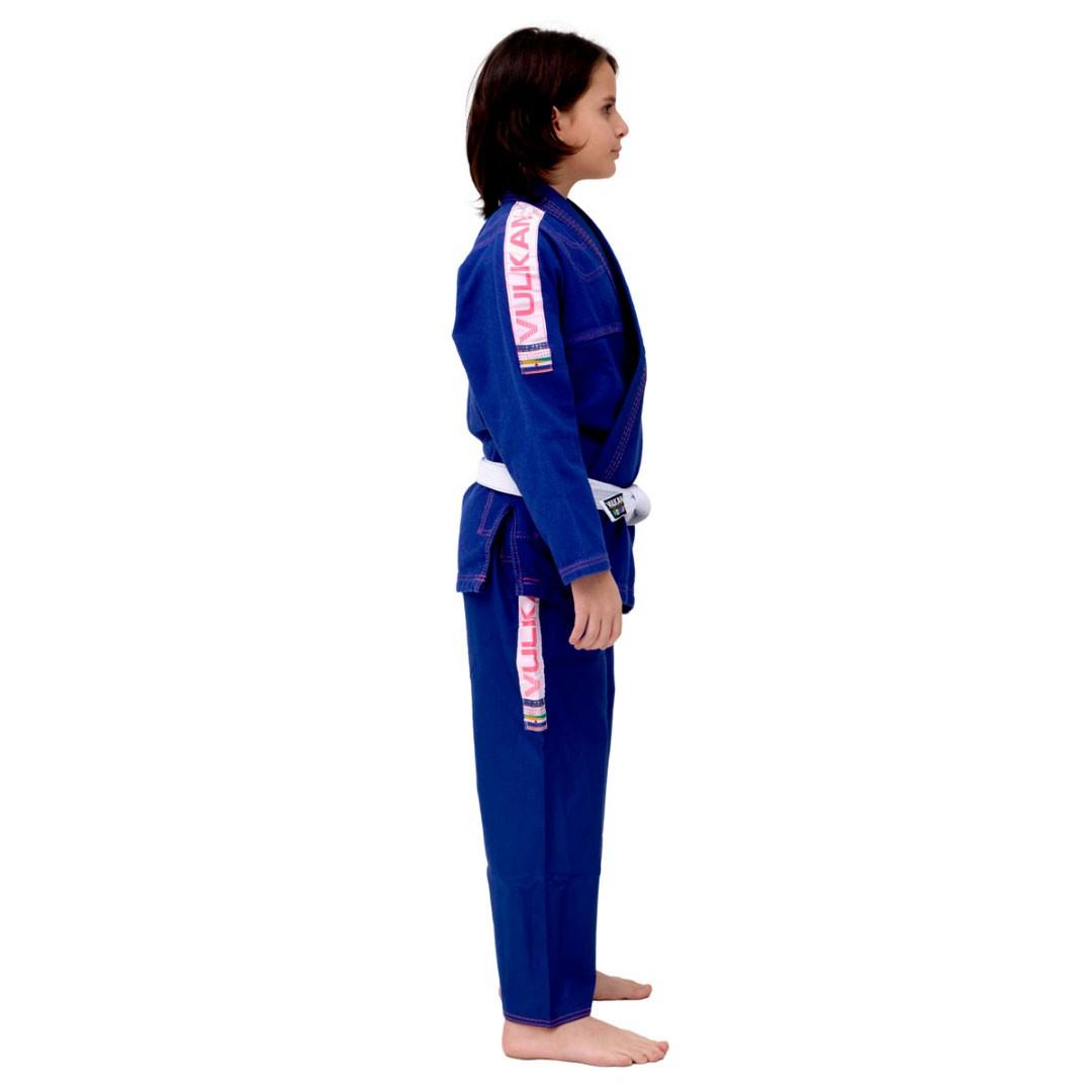Kimono Jiu Jitsu Vulkan Ultra Light Azul Rosa Infantil