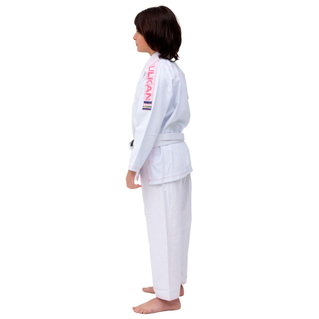 Kimono Jiu Jitsu Vulkan Ultra Light Branco Rosa Infantil