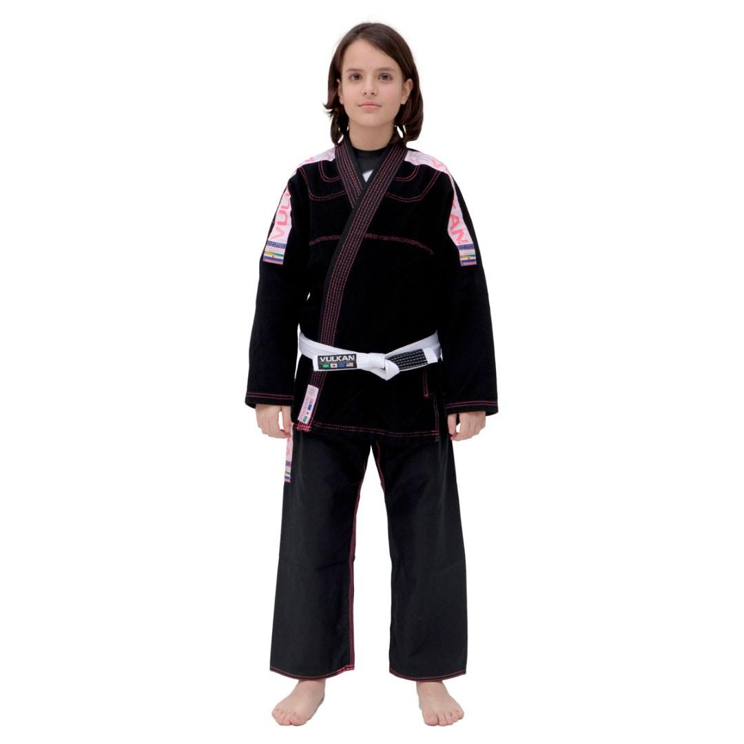 Kimono Jiu Jitsu Vulkan Ultra Light Preto Rosa Infantil