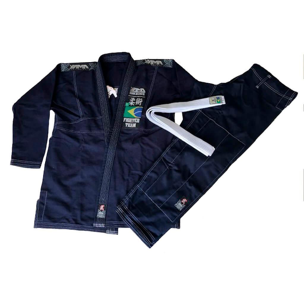 Kimono Jiu Jitsu Yama Plus Marinho Linha Branca Unissex