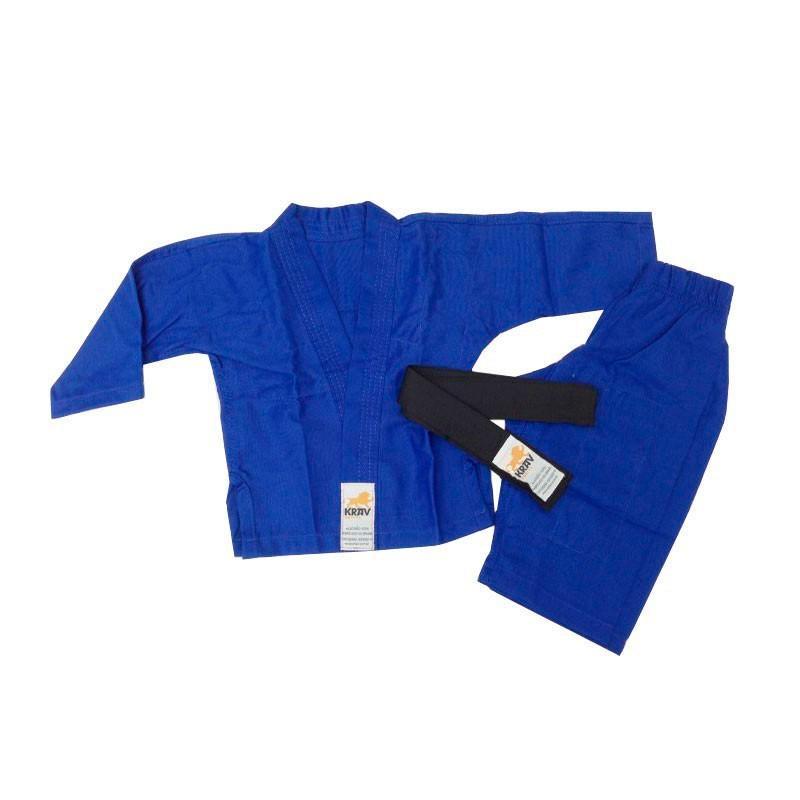 Kimono Jiu Jitsu Krav Kids Azul 1 Ano Faixa Preta