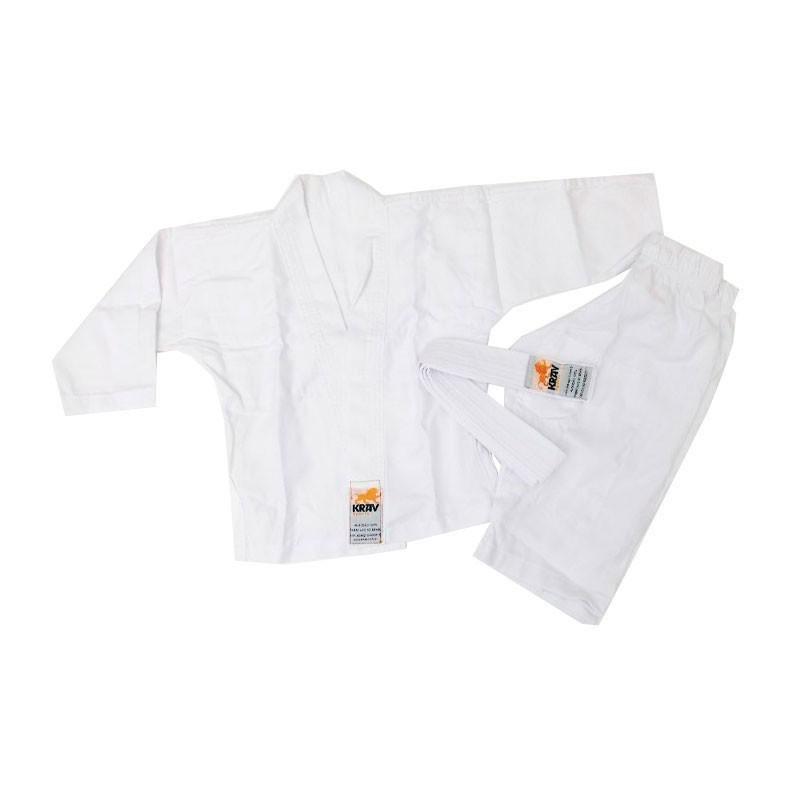 Kimono Jiu Jitsu Krav Kids Branco 1 Ano Faixa Branca