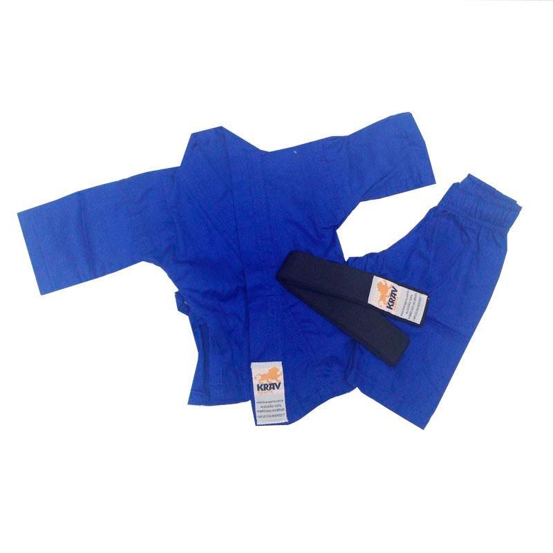 Kimono Jiu Jitsu Krav Recém Nascido Azul Faixa Preta