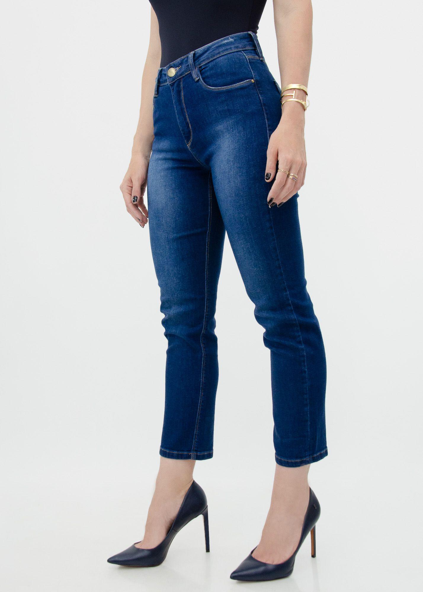 Calça Cropped Jeans Dark Blue