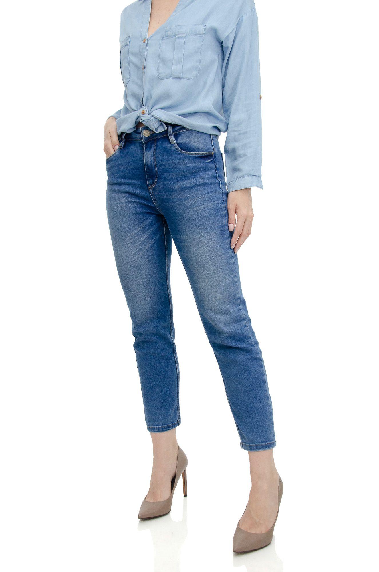 Calça Reta Cropped Jeans