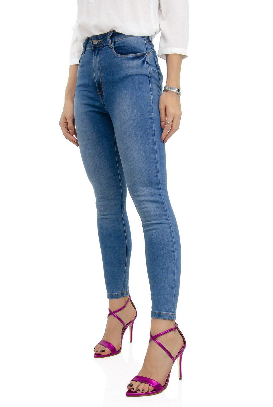 Super Skinny Jeans Cintura Alta Cl