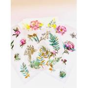 Adesivo Cartela Flores foil dourado 3un