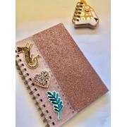Caderno Oncinha Glitter