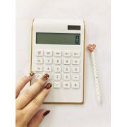 Calculadora Branca com Dourado