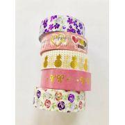 Washi Tape Foil Flores 5 un